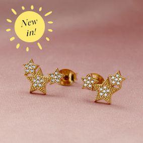 Cubic Zirconia Cluster Star Stud Earrings