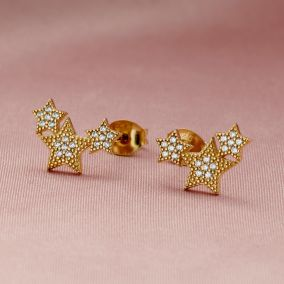 Cubic Zirconia Cluster Star Stud Earrings