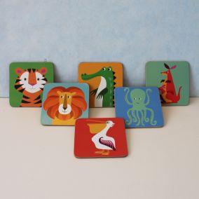Children's Wooden Animal Coaster