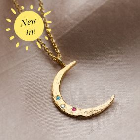Textured Confetti Birthstone Crescent Moon Necklace