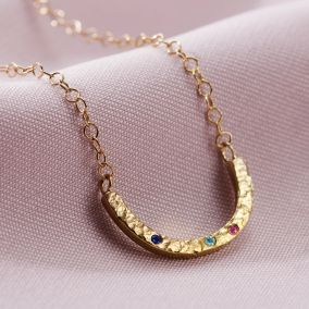 Textured Confetti Birthstone Curve Necklace