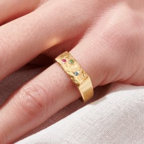 Personalised Confetti Birthstone Signet Ring