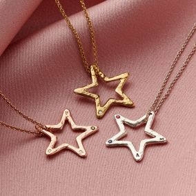 Personalised Open Star Birthstone Necklace