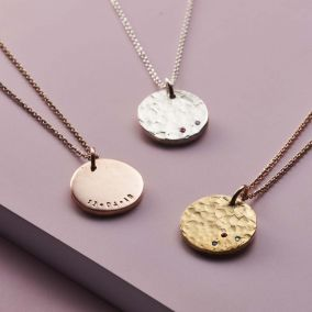 Textured Confetti Birthstone Disc Necklace