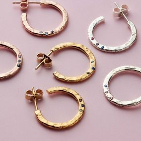 Textured Confetti Birthstone Hoop Earrings
