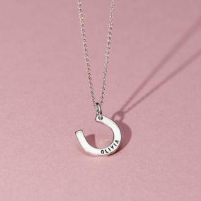 Personalised Birthstone Horseshoe Necklace