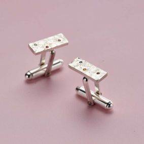 Textured Confetti Birthstone Rectangle Cufflinks