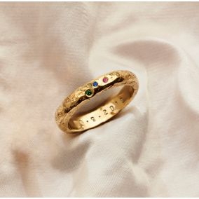 Personalised 9ct Gold Textured Confetti Birthstone Ring