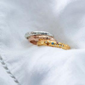 Personalised Diamond & Birthstone Confetti Ring