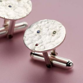 Textured Confetti Birthstone Circle Cufflinks
