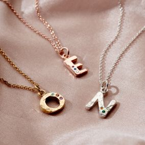 Textured Confetti Birthstone Initial Letter Necklace