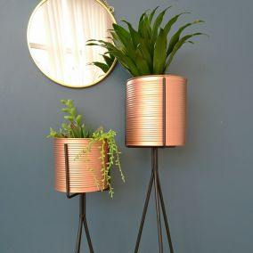 Copper Planter on Black Metal Stand