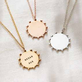 Personalised Crown Disc Necklace