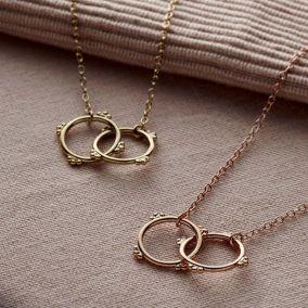 Personalised Crown Double Hoop Necklace