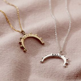 Personalised Crown Crescent Horn Necklace