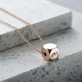 Personalised Faceted Cube Necklace
