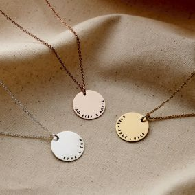 Personalised Curved Message Disc Necklace