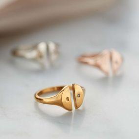 Personalised Open Diamond Signet Ring