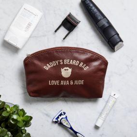 Personalised Men's Leather Zip Washbag