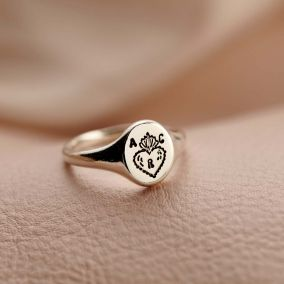 Personalised Flaming Heart Signet Ring