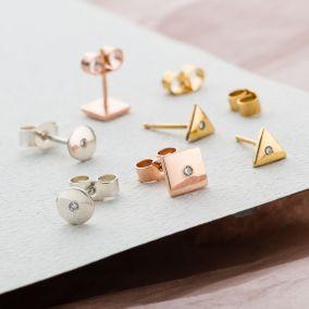 Diamond Geometric Stud Earrings
