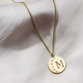 Personalised Moon Diamond Initial Necklace
