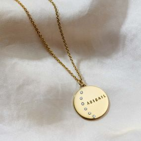 Personalised Moon Diamond Name Necklace