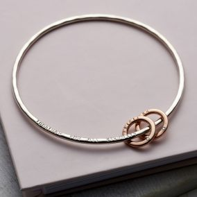 Personalised 9ct Gold & Silver Diamond Mini Circle Bangle
