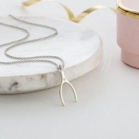 Lucky Diamond Wishbone Necklace