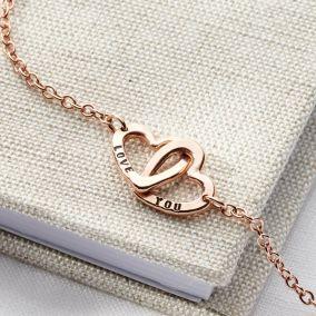 Personalised Double Heart Names Bracelet