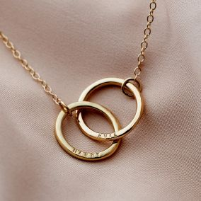 Personalised 9ct Gold Medium Double Hoop Names Necklace