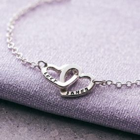 Personalised Double Heart Names Bracelet