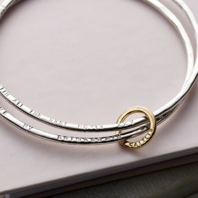 Personalised 9ct Gold & Silver Double Bangle