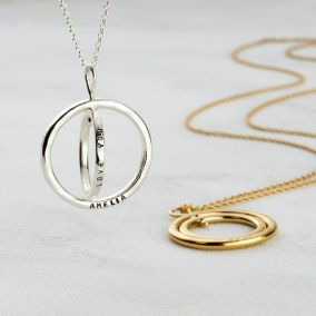 Personalised Double Spinning Circle Necklace