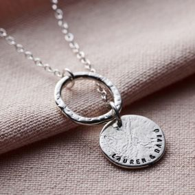 Personalised Molten Texture Disc & Hoop Necklace