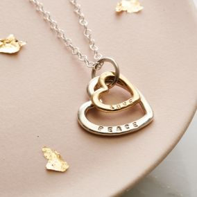 Personalised Silver & 9ct Gold Family Heart Necklace