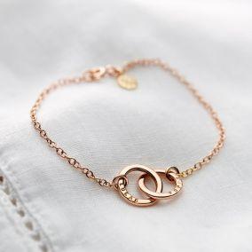 Personalised 9ct Gold Double Hoop Names Bracelet