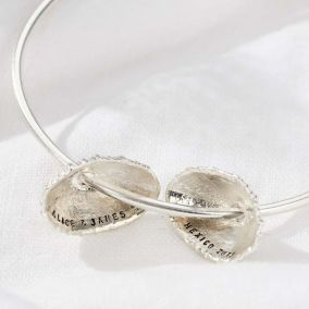 Personalised Double Limpet Shell bangle