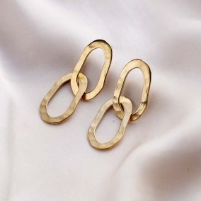 Organic Hammered Personalised Double Hoop Stud Earrings