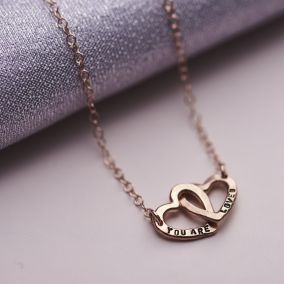 Personalised Double Heart Names Necklace