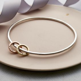 Personalised 9ct Gold & Silver Mini Circle Bangle