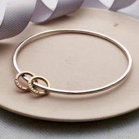 Personalised 9ct Gold & Silver Mini Circle Bangle
