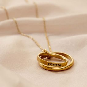 Personalised Double Secret Script Ring Necklace