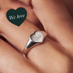 Personalised Engraved Heart Signet Ring
