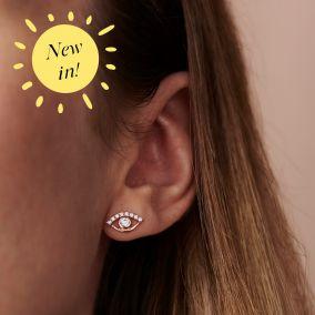 Cubic Zirconia Evil Eye Stud Earrings