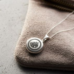 Small Sunburst Evil Eye Locket Necklace