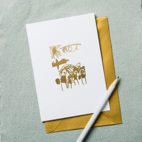 Personalised Drawing Gold Foil Card