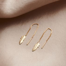 Leaf 9ct Gold Pull through Earrings