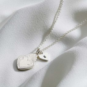 Flaming Heart Initial Charm Necklace