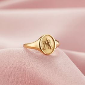 Floral Engraved Initial Signet Ring